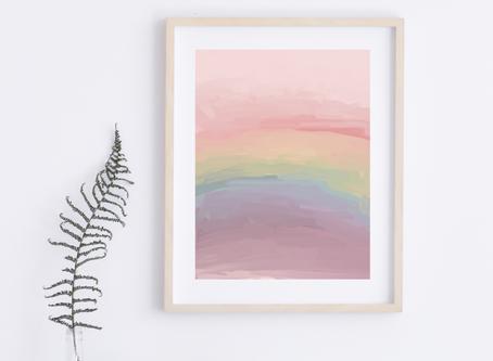 Pastel Rainbow Abstract Art Print