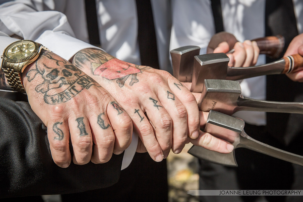 Tattoo and axe wedding day gift