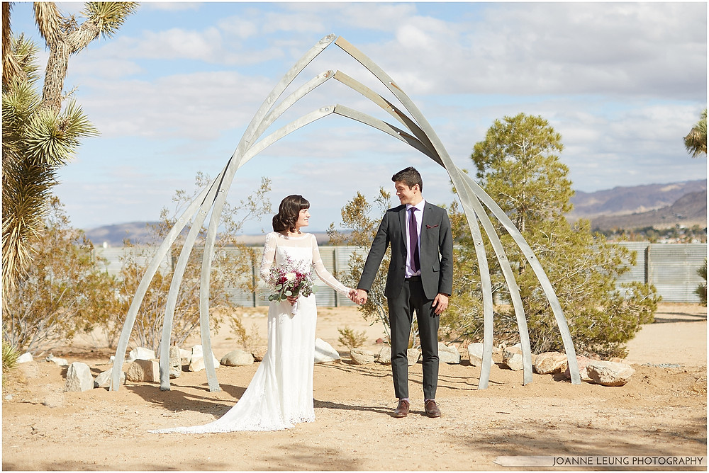 Joshua Tree Live Oak Wedding minimalist metal wedding arbor contemporary arch