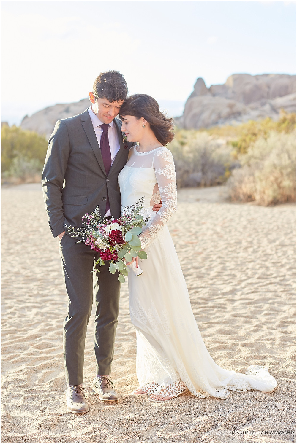 Joshua Tree Live Oak Wedding untraditional ceremony romantic porttrait