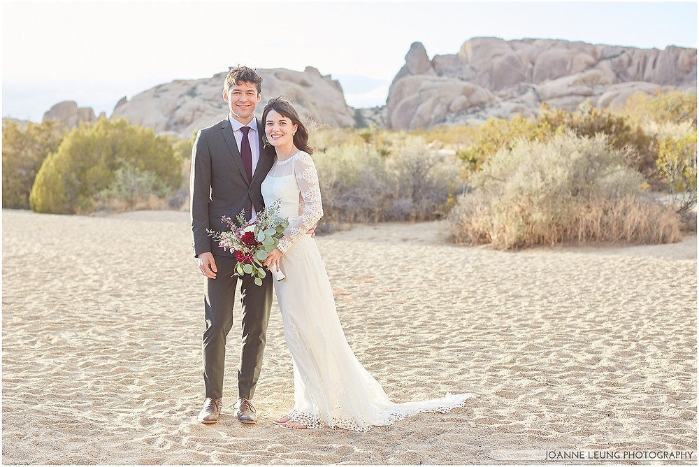 Joshua Tree Live Oak Wedding untraditional ceremony happy couple