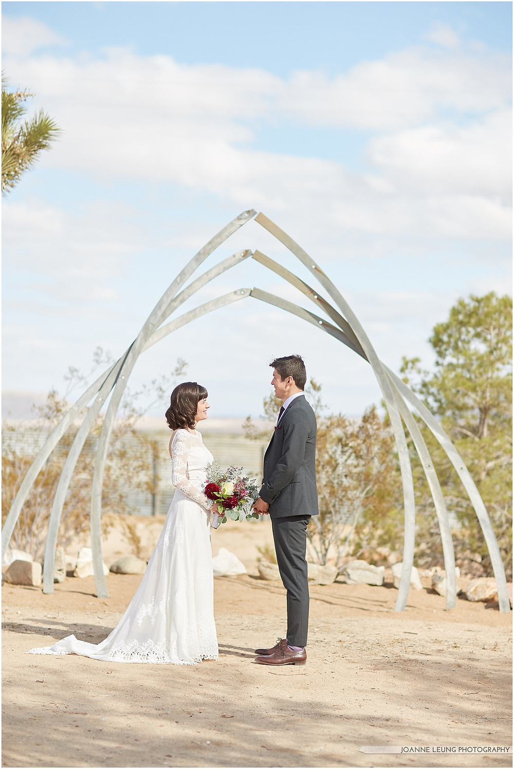 Joshua Tree Live Oak Wedding airstream arch romantic light