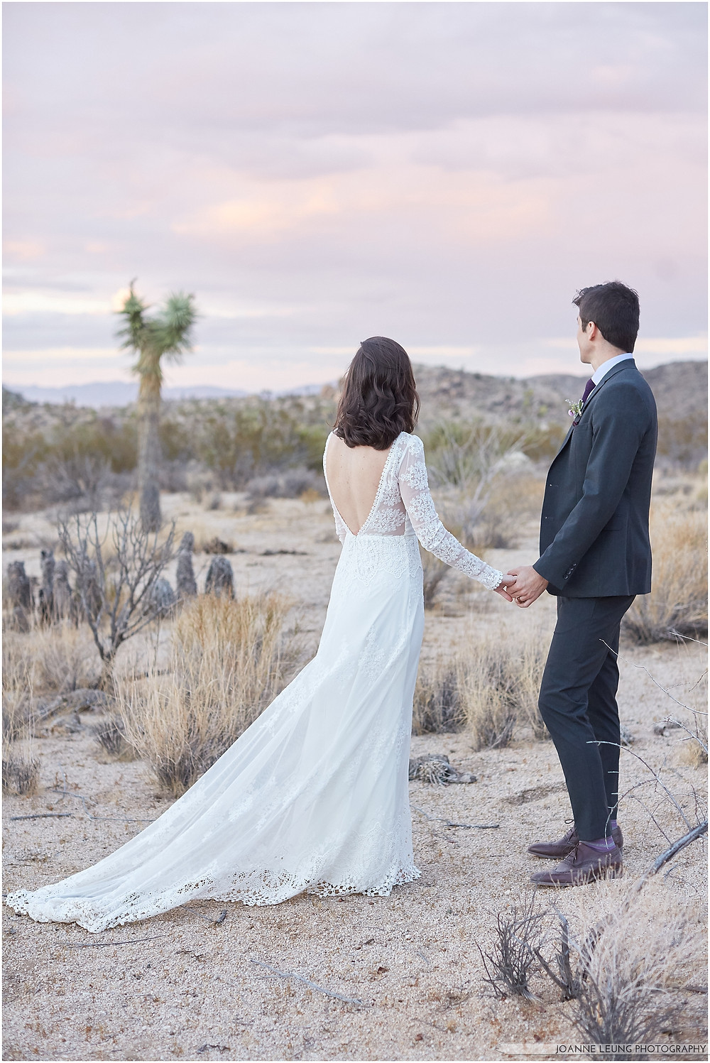 Joshua Tree Live Oak Wedding untraditional nature rocks amazing bridal portrait kiss sunset old oak tree wedding posing back shot posing