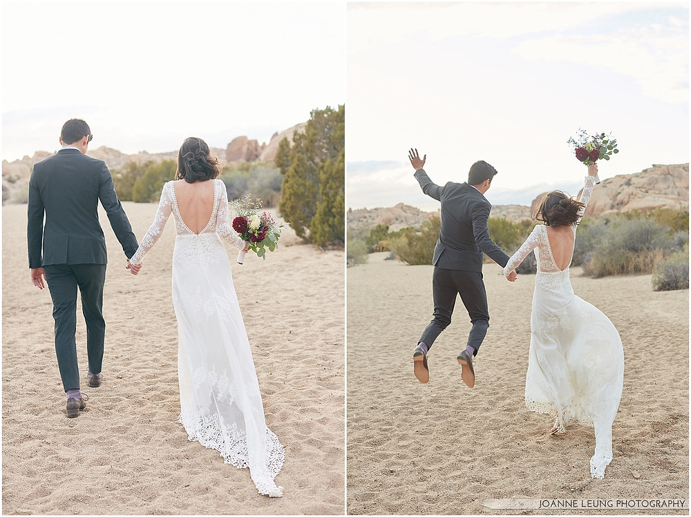 Joshua Tree Live Oak Wedding untraditional nature rocks amazing bridal portrait kiss sunset carefree wedding elopement