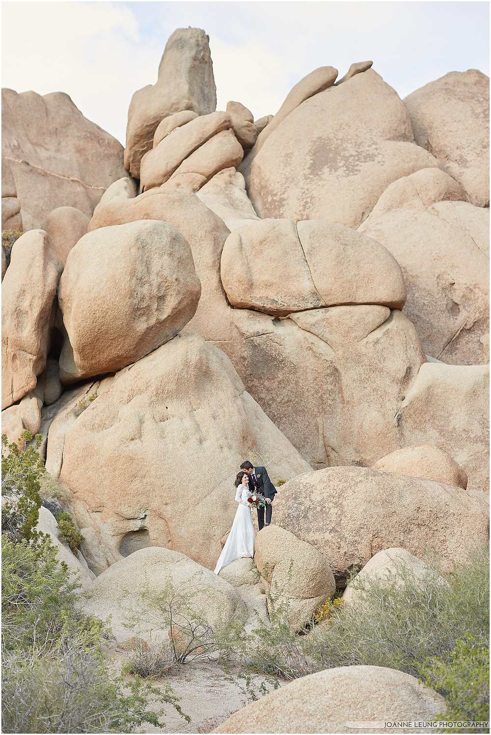 Joshua Tree Live Oak Wedding untraditional nature rocks portrait
