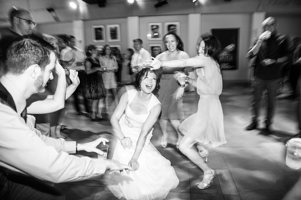 Long Beach Wedding Bride Dancing Black and White