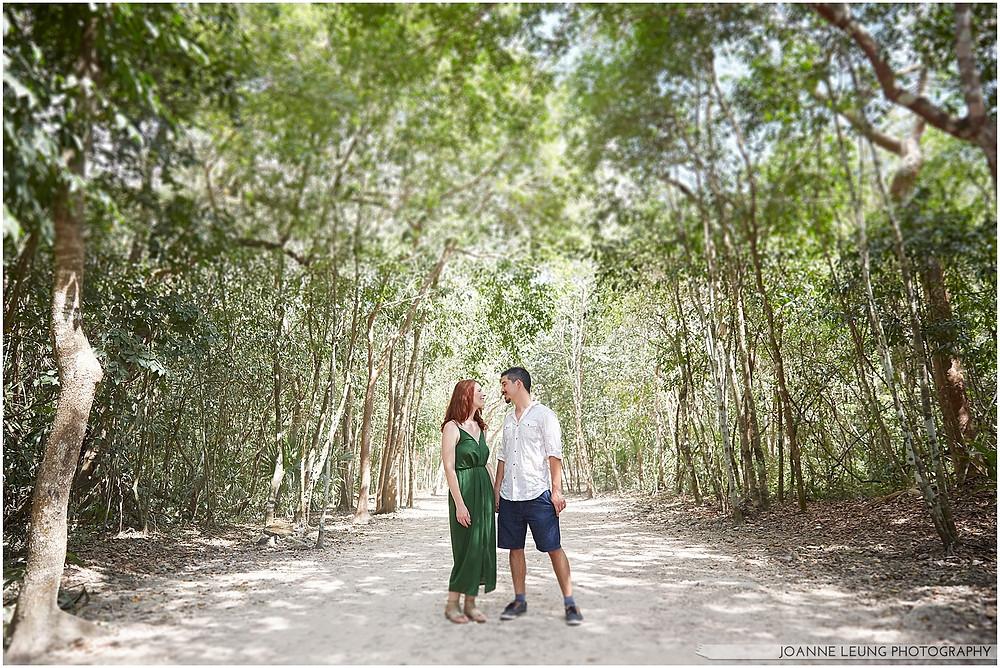 coba ruin jungle couple engagement photo