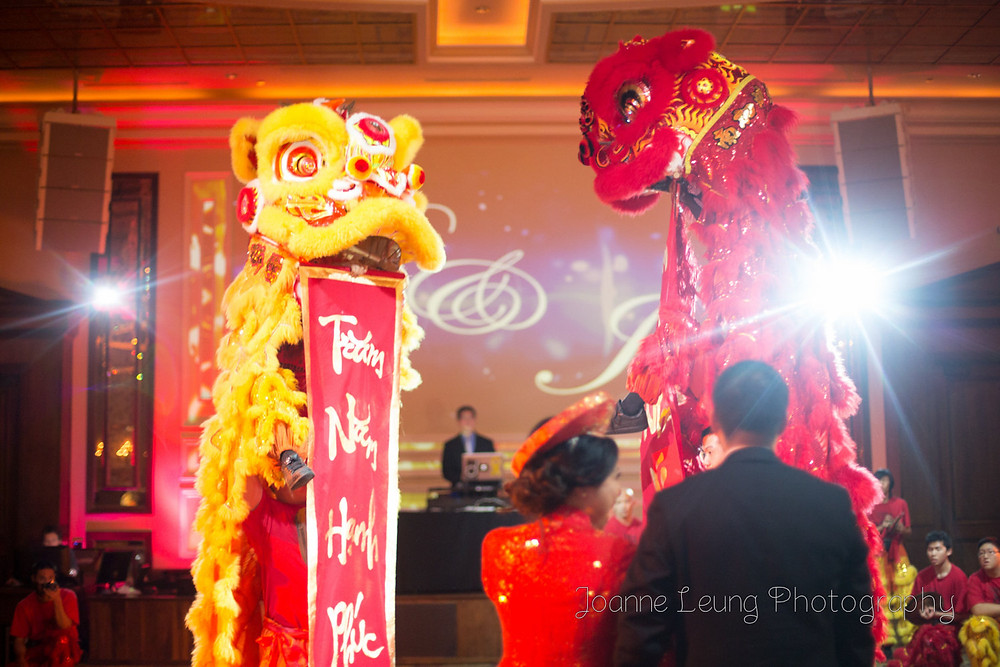 Lion Dance at wedding standing tall