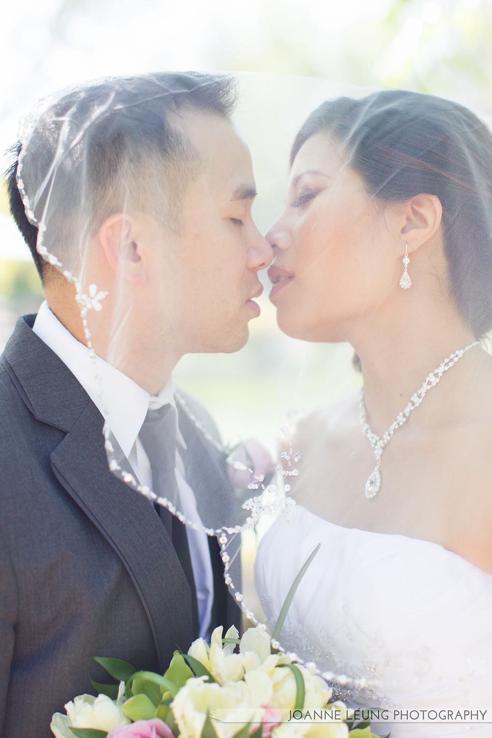 Bride and Groom Kissing Wedding Day