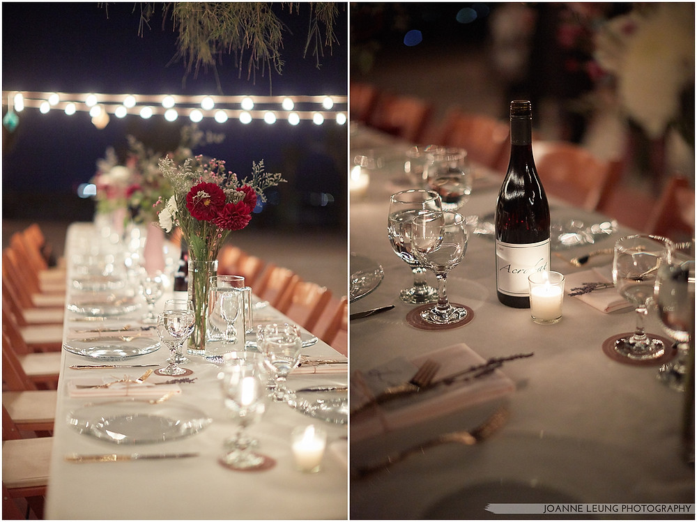 Joshua Tree Live Oak Wedding untraditional nature rocks night time string light tablescape