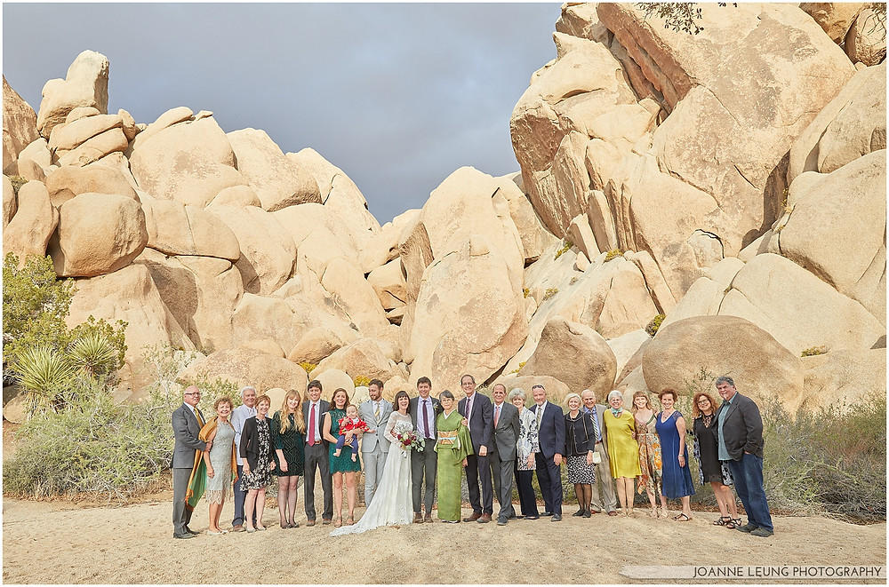 Joshua Tree Live Oak Wedding untraditional ceremony Fun Group Photo