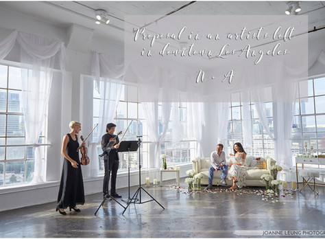 Proposal in an artist's loft with sweeping views of downtown Los Angeles and live strings privat