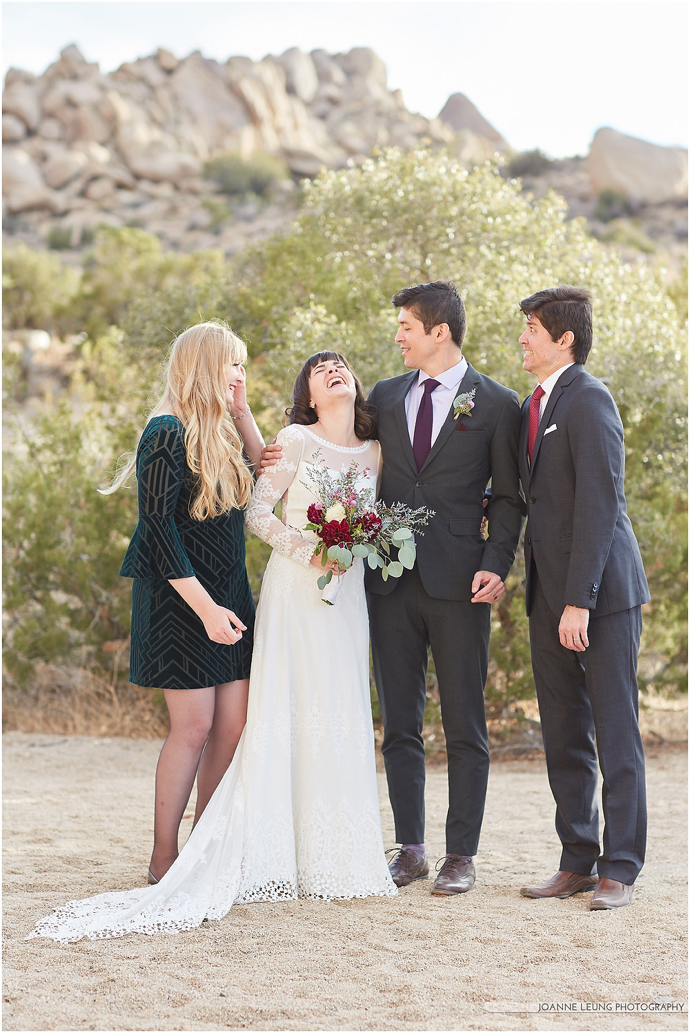 Joshua Tree Live Oak Wedding untraditional ceremony fun sibling photo