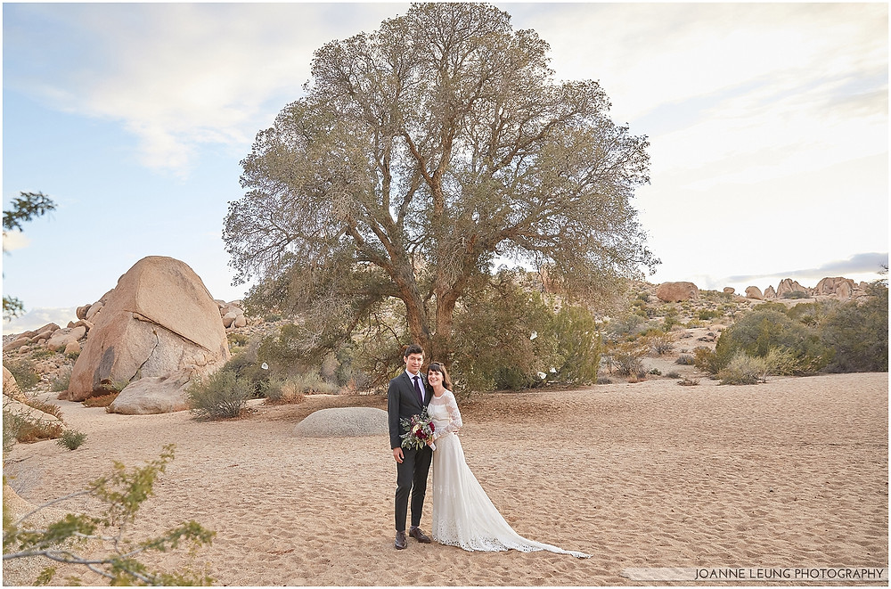 Joshua Tree Live Oak Wedding untraditional nature rocks amazing bridal portrait old oak tree