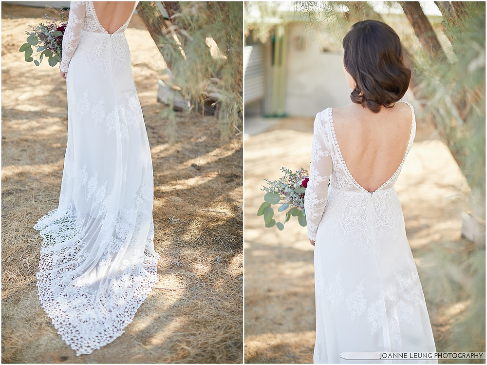 Joshua Tree Live Oak Wedding beautiful backless lace wedding dress