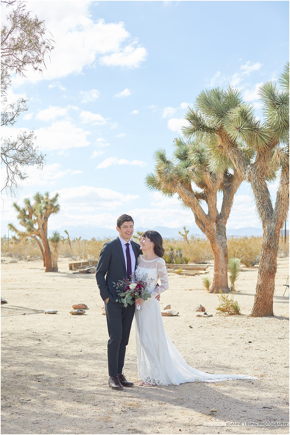 Joshua Tree Live Oak Wedding beautiful backless lace wedding dress best los angeles wedding photographer