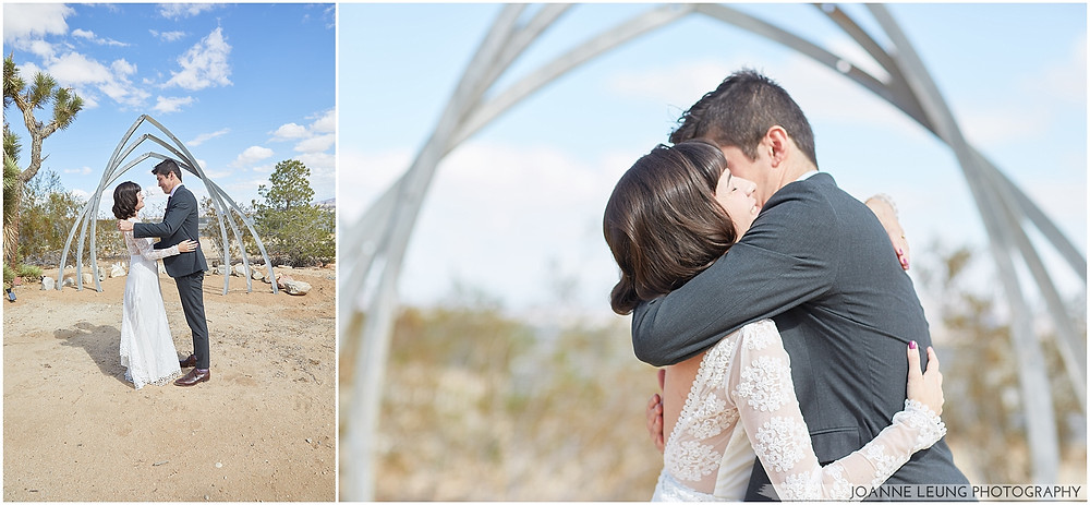 Joshua Tree Live Oak Wedding airstream arch first look