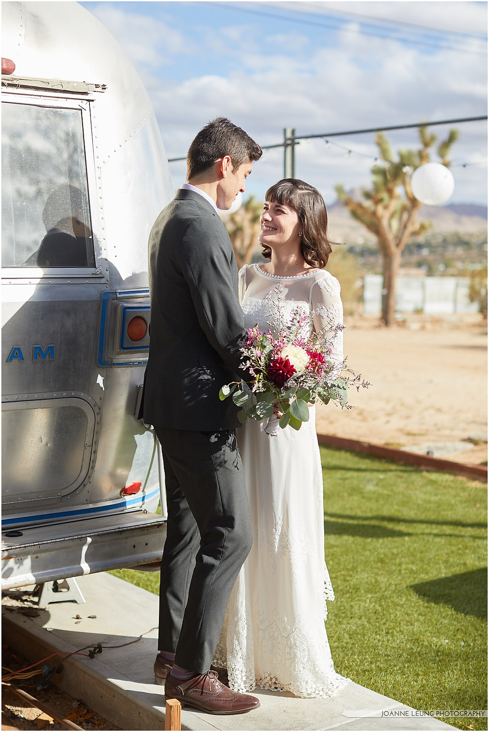 Joshua Tree Live Oak Wedding romantic airstream wedding