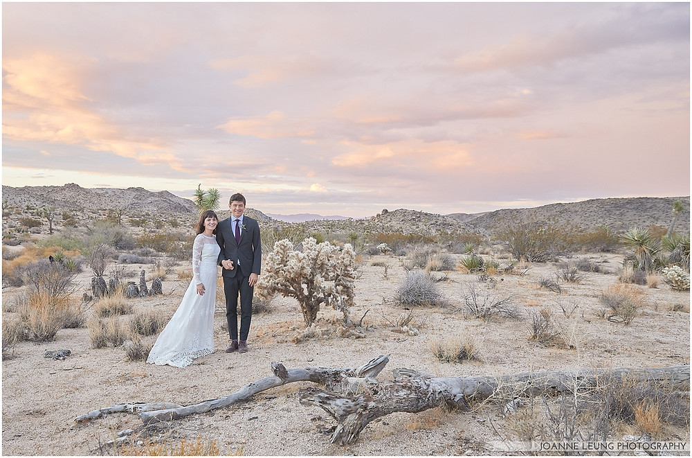 Joshua Tree Live Oak Wedding untraditional nature rocks amazing bridal portrait kiss sunset old oak tree wedding posing amazing light pastel sky