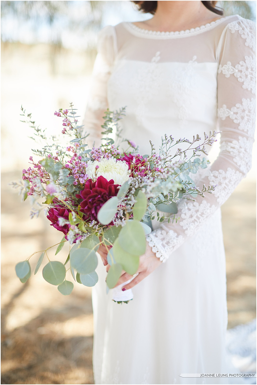 Joshua Tree Live Oak Wedding beautiful backless lace wedding dress dahlia eucalyptus bridal bouquet