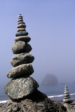 Rock Cairns in Fog Near Shell Beach