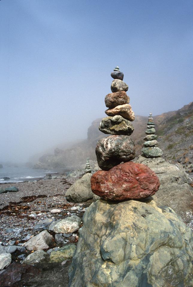 Rock Cairns in Fog