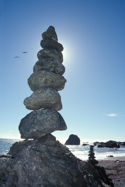 Rock Cairns with Gulls