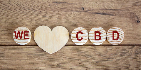 Concept words 'we' and 'cbd' on wooden c