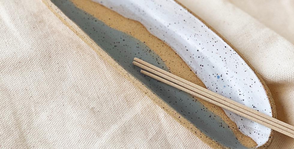 incense / smudge dish in white & coast