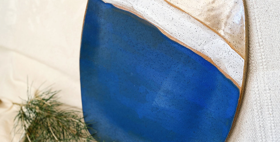 serving platter with handle in matte blue with white & buff gloss