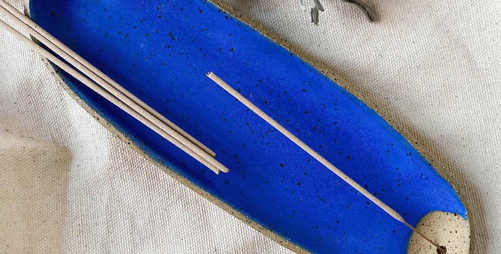 incense / smudge dish in blue jean
