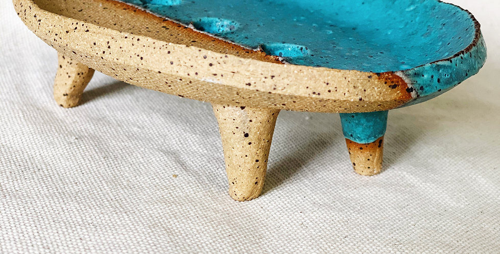 Soap Dish in dipped turquoise