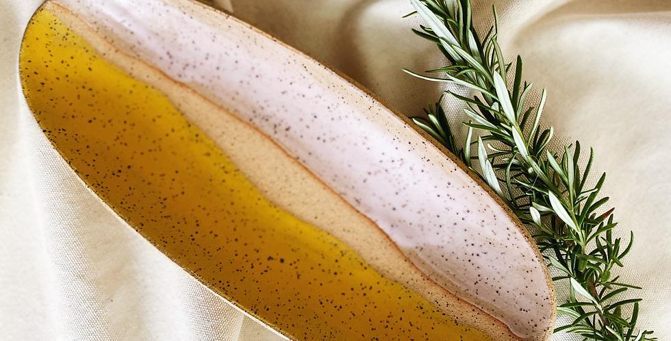 Oblong Platter in turmeric & pink