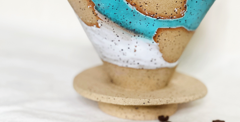 large coffee Cone in white with turquoise