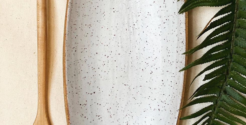 Oblong Platter in white satin
