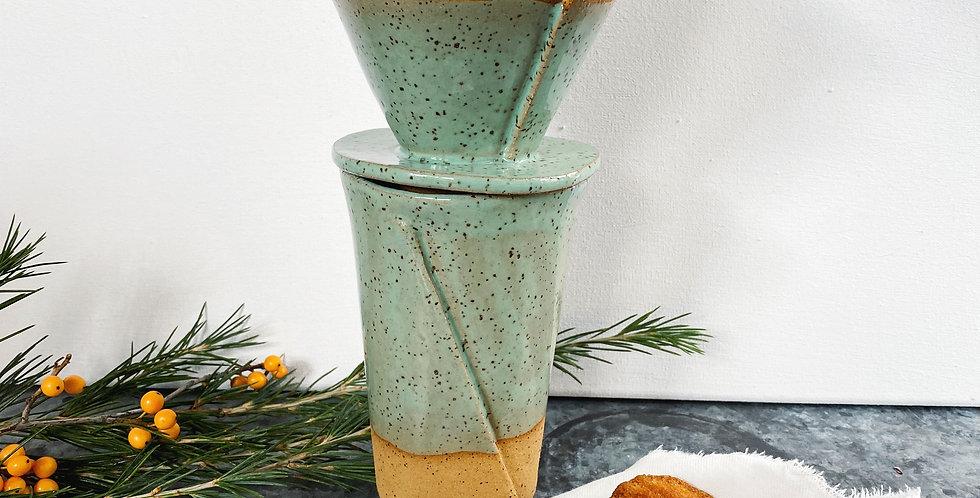 ambler mug + pour over cone set in jadeite