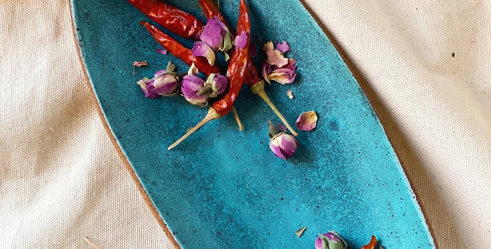 Oblong Platter in turquoise