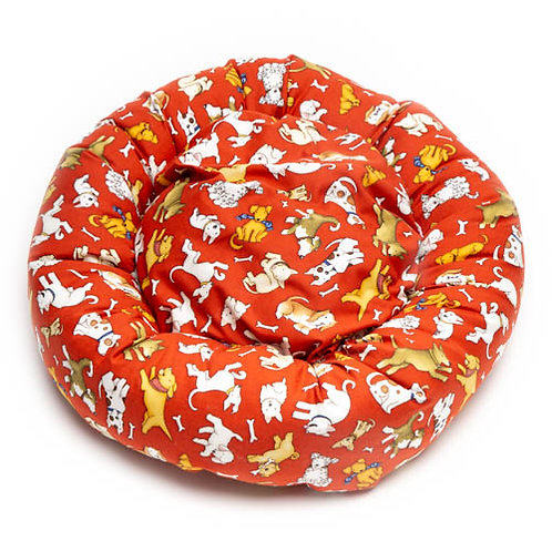 Love Dogs All Over on Red Cotton Round Bed