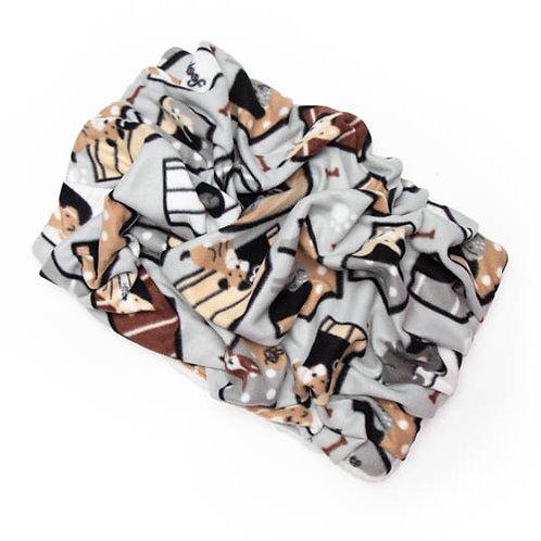 Dog House on Grey Fleece Blanket Bed