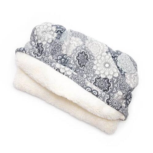 Grey Medallion Fleece Fabric Pocket Bed