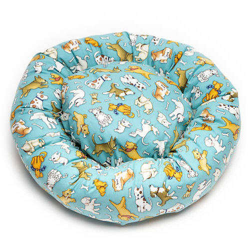 Love Dogs All Over on Teal Cotton Round Bed