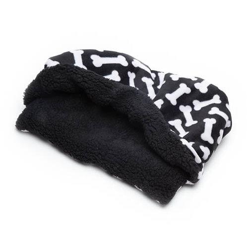 White Bones on Black Fleece Fabric Pocket Bed