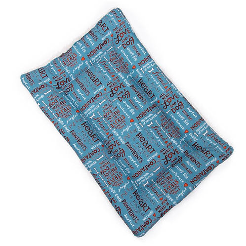All you need is love and a dog (teal) Printed Cotton Fabric - Quilted Cra
