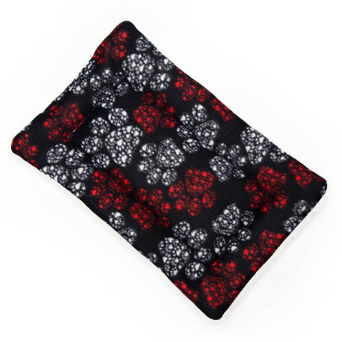 Red and White Paws Fleece Fabric - Quilted Crate Pad