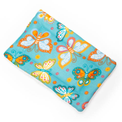 Butterflies on Teal Fleece Fabric - Quilted Crate Pad