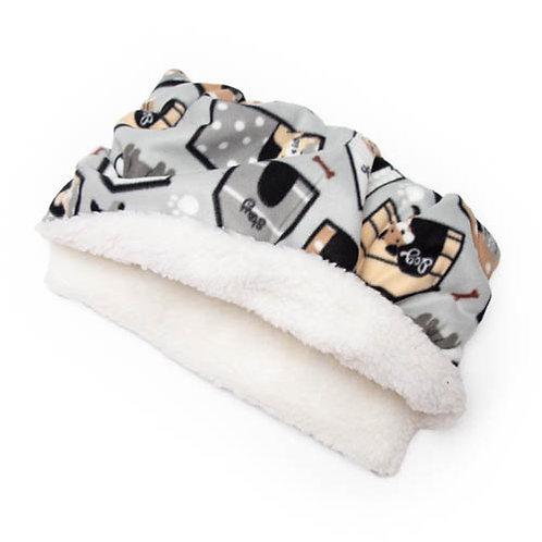 Dog House on Grey Fleece Fabric Pocket Bed