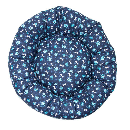 Blue Paws Cotton Round Bed