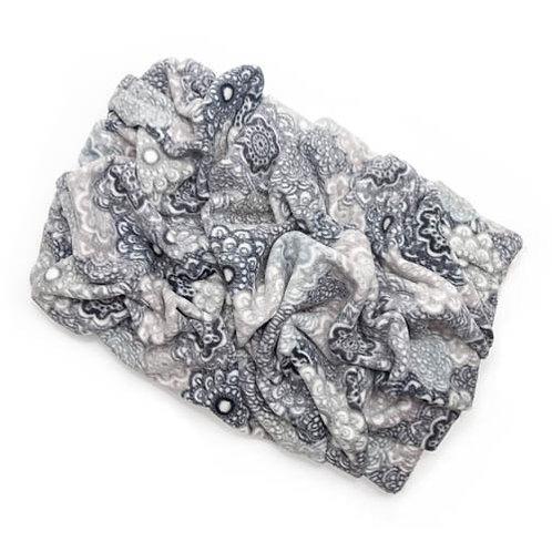 Gray Medallion Fleece Blanket Bed
