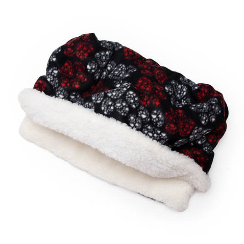 Red and White Paws Fleece Fabric Pocket Bed