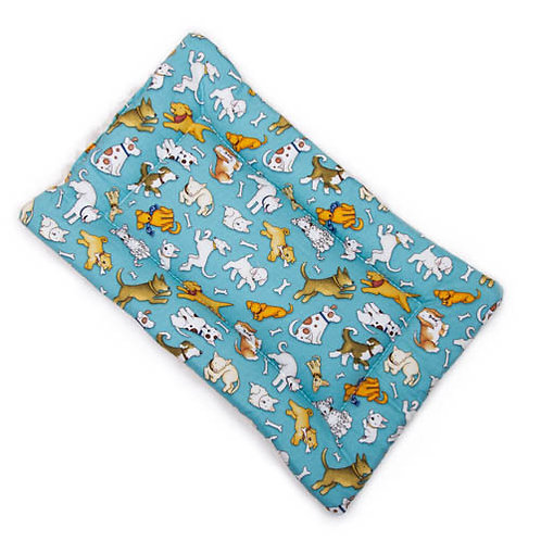 Love Dogs All Over (teal) Printed Cotton Fabric - Quilted Crate Pad